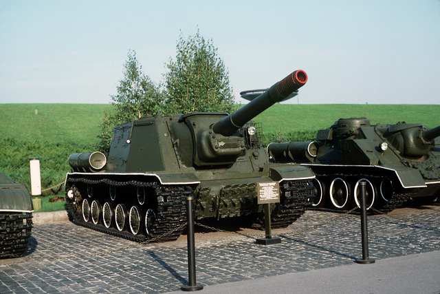 Right front view of a Soviet SU-152 heavy assault gun on display on the grounds of the Memorial Complex of the Ukrainian State