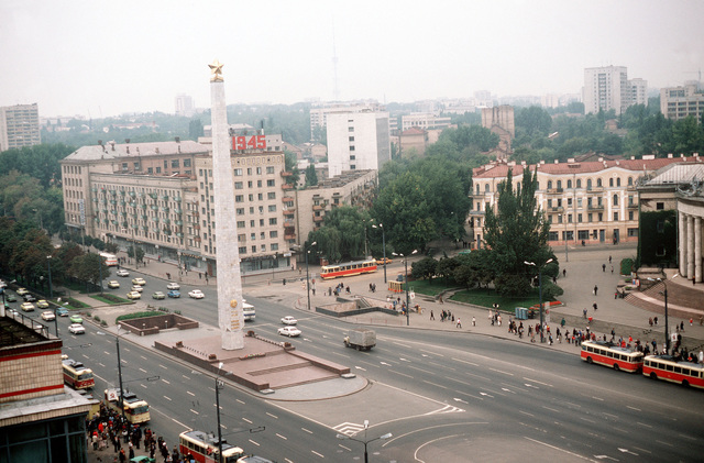 Elevated view of the memorial obelisk on Victory Square erected in honor of the city of Kiev's contributions to the war effort during World War II