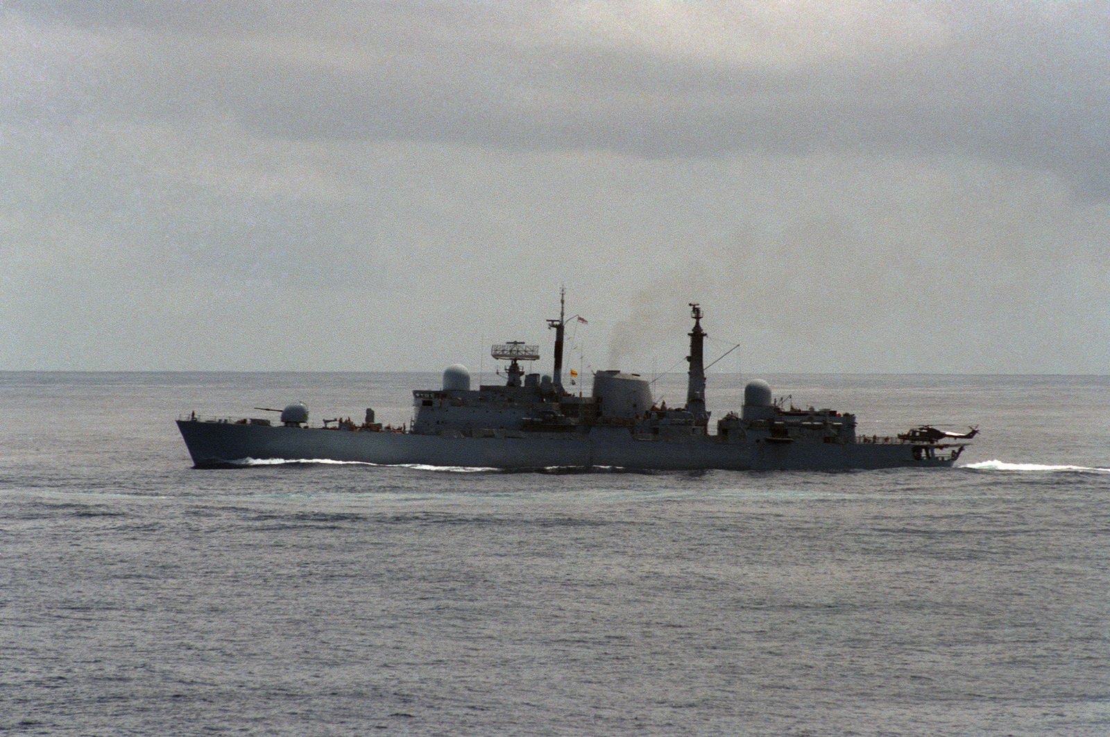 A port beam view of a British Type 42 class destroyer underway