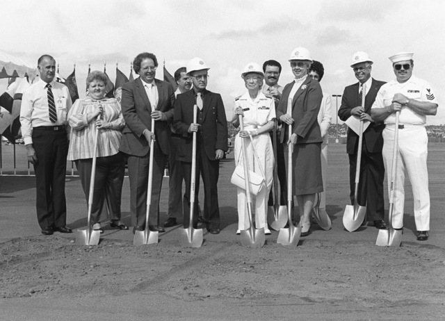 Members of the Military Construction Steering Group, Navy Regional Data Automation Center (NARDAC), San Diego, pose during the groundbreaking of the Grace M. Hopper Navy Regional Data Automation Center. Commodore Grace M. Hopper, special assistant to the commander, Naval Data Automation Command, is in the center