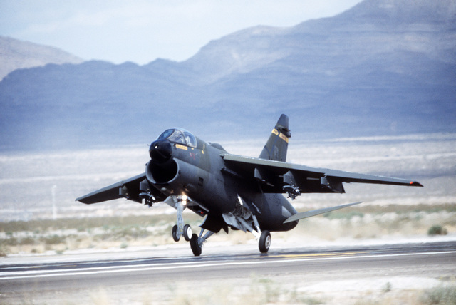 An Air National Guard 185th Tactical Fighter Group A-7D Corsair II aircraft lands during Exercise GUNSMOKE '85