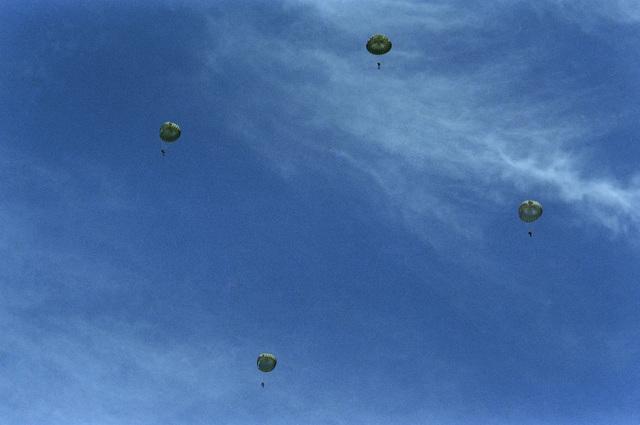 Navy Sea-Air-Land (SEAL) team members parachute into the bay during Fleet Week activities