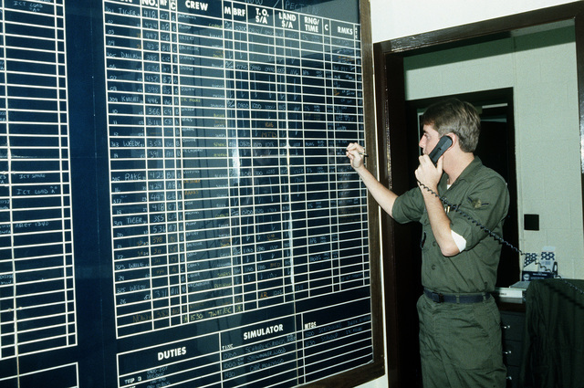 AIRMAN (AMN) Sean O'Donahue, a member of the 70th Tactical Fighter Squadron, copies down codes from incoming aircraft on a status board