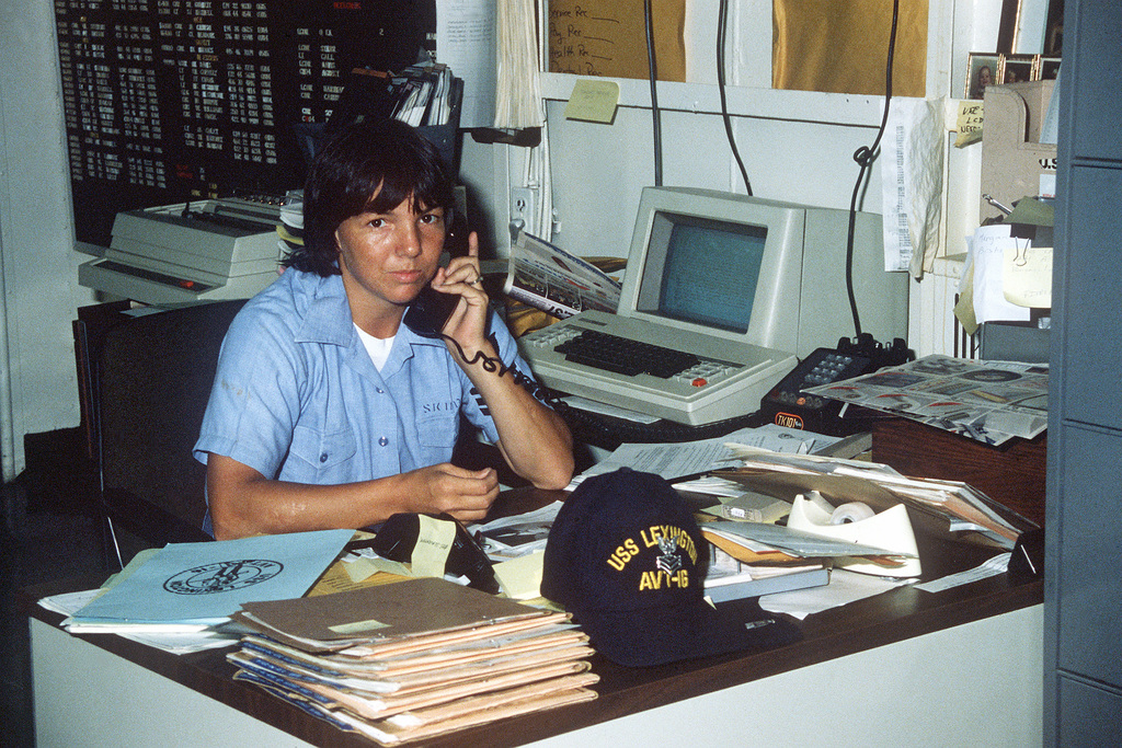 Yeoman 1ST Class Tonya Skipper performs clerical duties in the captian's office aboard the training aircraft carrier USS LEXINGTON (AVT-16)