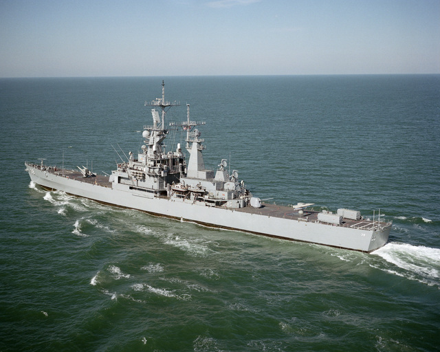 A port quarter view of the nuclear-powered guided missile cruiser USS VIRGINIA (CGN 38) underway off the coast of Cape Henry, Virginia (VA)