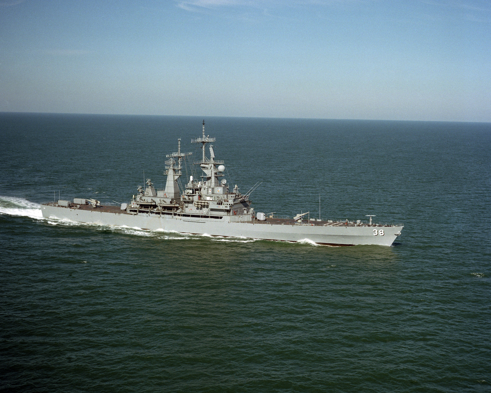 A starboard view of the nuclear-powered guided missile cruiser USS VIRGINIA (CGN 38) underway off the coast of Cape Henry, Virginia (VA)