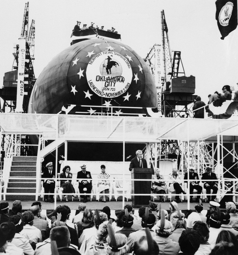 Edward J. Campbell, president of Newport News Shipbuilding, speaks at the launching of the nuclear-powered attack submarine USS OKLAHOMA CITY (SSN 723)
