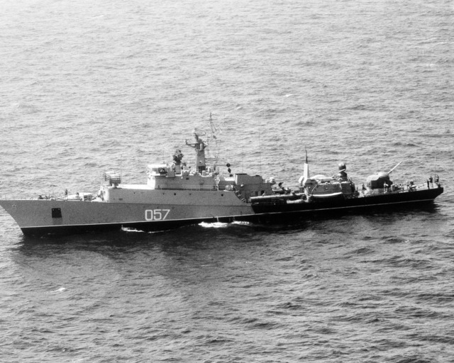 Aerial port beam view of a Soviet Grisha class light frigate armed with one 57 mm antiaircraft gun and four torpedo tubes. (SUBSTANDARD)