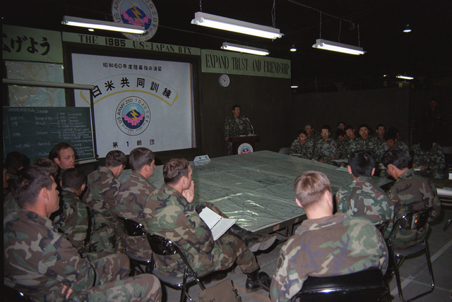 US Army and Japanese Ground Self Defense Force officers meet at Japanese Eastern Command Headquarters to coordinate plans for the upcoming bilateral training Exercise ORIENT SHIELD