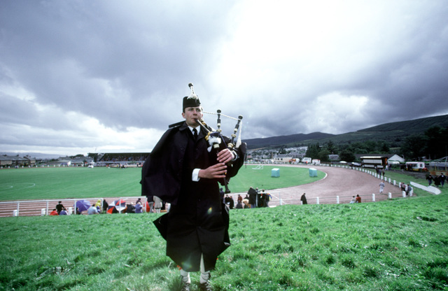 A bagpipe player practices before the Cowal Highland Gathering, a competition of traditional Scottish events