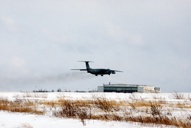 A 437th Military Airlift Wing C-141B Starlifter aircraft carrying the remains of members of the 3rd Bn., 502nd Inf., 101st Airborne Div., takes off from Gander Airport for a flight to Dover Air Force Base, Delaware. On December 12, 1985, 248 soldiers of the 3rd Battalion were killed in a plane crash at Gander Airport, Newfoundland, Canada. They were returning to the United States after participating in peacekeeping duty with the Multi-national Force and Observers in the Sinai Desert