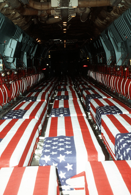 Caskets containing the remains of members of the 3rd Bn., 502nd Inf., 101st Airborne Div., fill a 437th Military Airlift Wing C-141B Starlifter aircraft. On December 12, 1985, 248 soldiers of the 3rd Battalion were killed in plane crash at Gander Airport, Newfoundland, Canada. They were returning to the United States after participating in peacekeeping duty with the Multi-national Force and Observers in the Sinai Desert