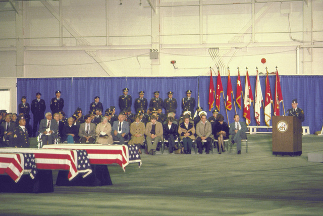 Mourners attend a memorial service for members of the 3rd Battalion, 502nd Infantry, 101st Airborne Division who were killed in a plane crash at Gander Airport, Newfoundland, Canada on December 12, 1985. The 3rd Battalion were returning to the United States after participating in peacekeeping duty with the Mulinational Force and Observers in the Sinai Desert