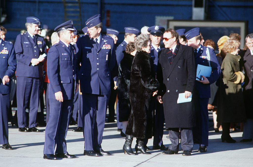 Brigadier General (BGEN) Cecil W. Powell, commander, 316th Air Division, and Major General (MGEN) William J. Breckner, commander, 17th Air Force, attend a ceremony marking the arrival of the first F-16C Fighting Falcon aircraft to be assigned to the US Air Force Europe. The F-16C will be replacing F-4 Phantom II aircraft of the 512th Tactical Fighter Squadron, 86th Tactical Fighter Wing