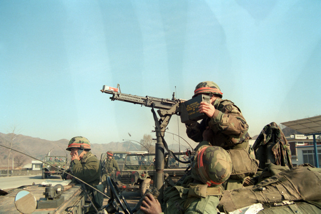 Al Chang Hongchon, South Korea....A member of Combat Support Co., 1ST Bn., 5th Inf., 25th Inf. Div., fires a vehicle-mounted M-60 machine gun equipped with a blank firing attachment during the joint U.S./South Korean exercise Team Spirit '85. OFFICIAL U.S. ARMY PHOTO (RELEASED)