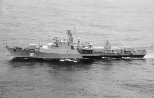 An aerial port beam view of a Algerian Koni Class Frigate MURAT REIS underway
