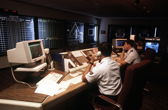 The Maintenance Control Center for the 60th Military Airlift Wing at Travis AFB, California, is staffed by enlisted and officer personnel twenty four hours a day. Exact Date Shot Unknown
