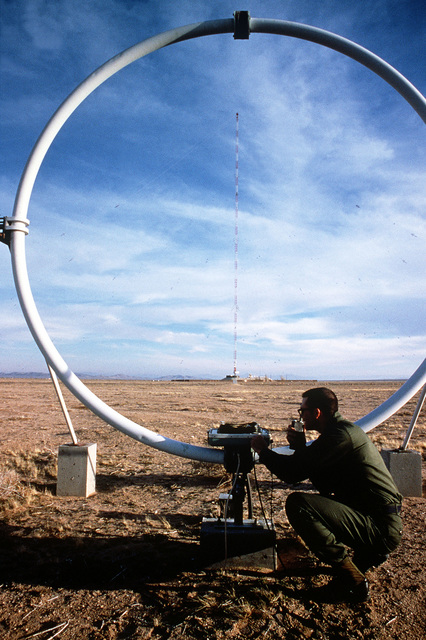 William Bokina, 33rd Information Services Group, Det. 2, Hawes Radio Relay Station, test the intergrity of the underground cables and the SLFCS (Surface Low Frequency Communications Systems) receiving antenna and equipment. Exact Date Shot Unknown