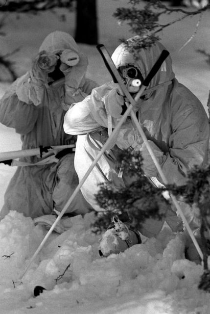 A member of the Scout Sniper Platoon, 23rd Marine, 5th Mar. Div., uses crossed ski poles to steady his sniper rifle while participating in a cold weather training exercise