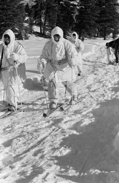 Corporal (CPL) Gary Briggs, Sergeant (SGT) Dean Pendleton and Corporal (CPL) Paul E. Bowden, all members of the Scout Sniper Platoon, 23rd Marines, 5th Marine Division, pull an ankio sled loaded with their packs and a 10-man arctic tent during a cold weather training exercise
