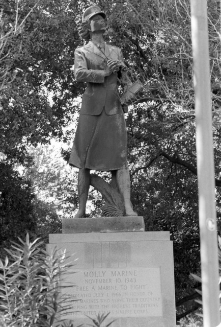 The Molly Marine statue honoring women who served in the US Marine Corps in World War II