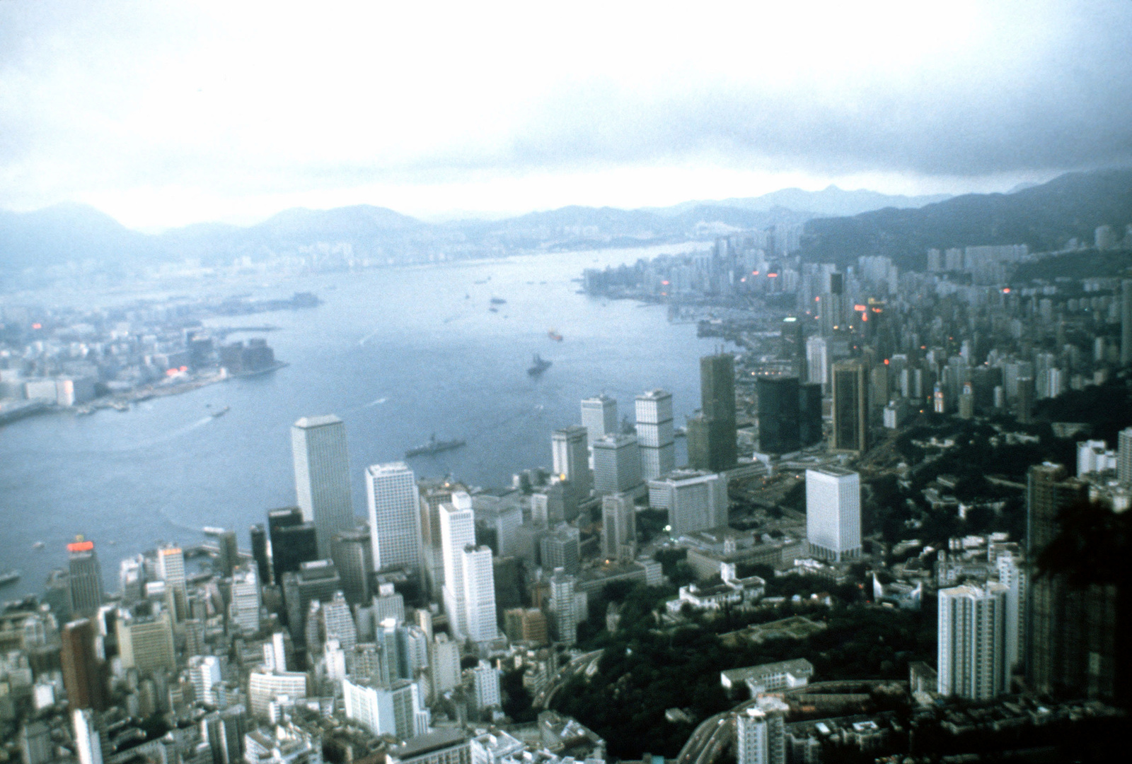 A view of the city and surrounding areas from Victoria Peak
