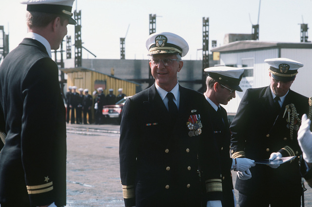 Rear Admiral (RDML) (lower half) John F. Shaw, program manager, Aegis Shipbuilding, arrives for the commissioning of the guided missile cruiser USS VALLEY FORGE (CG 50)