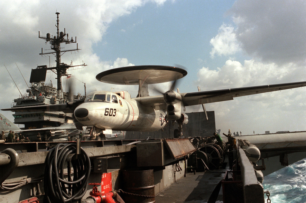 An E-2C Hawkeye aircraft prepares to launch from the aircraft carrier USS SARATOGA (CV 60)