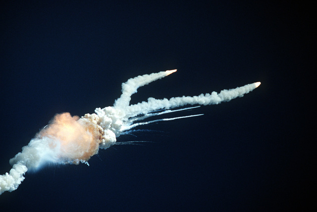 The Space Shuttle Challenger explodes 73 seconds after liftoff from the Kennedy Space Center. (Seventh view in a series of eight)