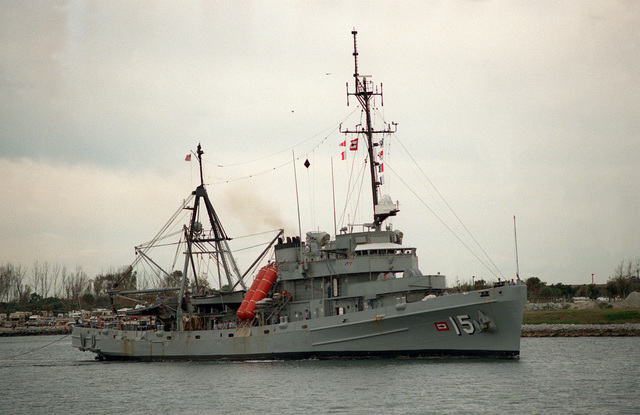 A starboard bow view of the submarine rescue ship USS SUNBIRD (ASR-15)