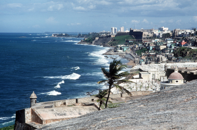 A view of the San Juan coastline from Del Morro Castle, a national historic site maintained by the US Department of the Interior, National Park Service
