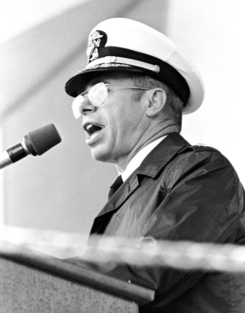 Rear Admiral (RDML) Harry K. Fiske, Naval Sea Systems Command, speaks during the launching of the dock landing ship USS FORT MCHENRY (LSD 43) at the Lockheed shipyard