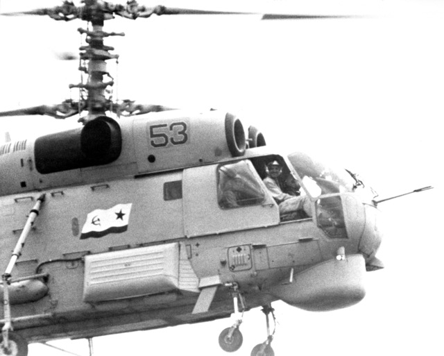 A right side view of the front of a Soviet Ka-27 Helix-A anti-submarine warfare helicopter
