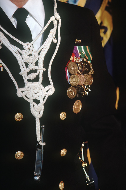 An ornamental boatswain's lanyard worn by CHIEF Warrant Officer Juan A. Thomas during the commissioning of the dock landing ship USS GERMANTOWN (LSD 42)