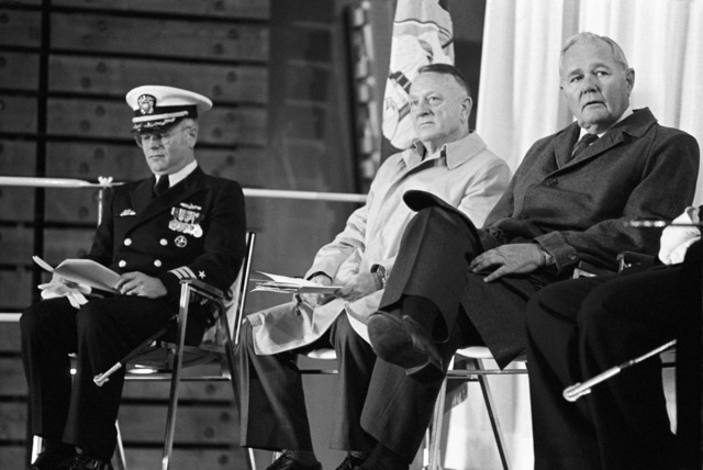 Attending the commissioning of the dock landing ship USS GERMANTOWN (LSD 42) at the Lockheed shipyard are (left to right): Commander (CDR) Edward M. Kline, prospective commanding officer; retired Colonel Eugene E. Shoults, amphibious ship acquisition project manager, Naval Sea Systems Command; and Lawrence A. Smith, group president, Lockheed Marine Systems