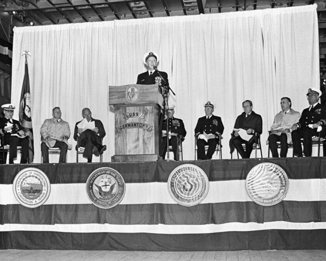 Rear Adm. Laverne S. Severance, commander, Naval Base, Seattle, speaks during the commissioning of the dock landing ship USS GERMANTOWN (LSD-42)