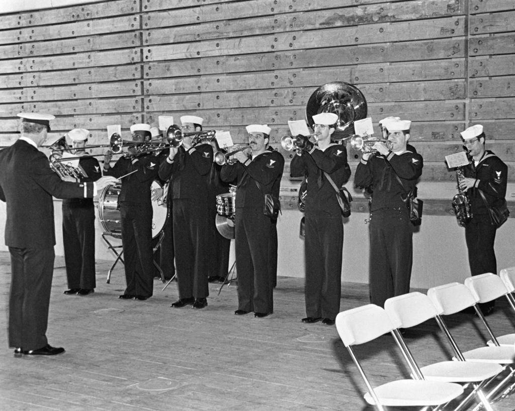 The U.S. Navy Band, Seattle, performs at the commissioning of the dock landing ship USS GERMANTOWN (LSD-42)