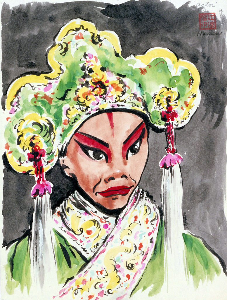 "Artwork: ""Actor,"" China 1945. Artist: John G. Hanlen. US Army Art Collection"