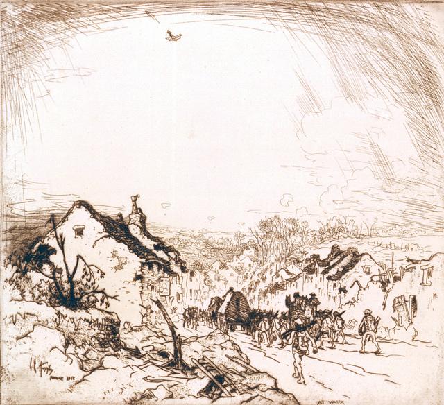 "Artwork: ""At Vaux,"" 1918 - World War I. Artist: Lester G. Hornby. US Army Art Collection"
