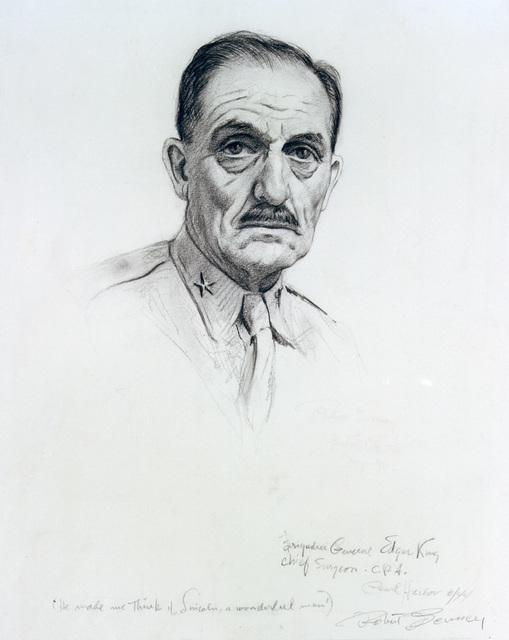 "Artwork: ""Brigadier General Edgar King,"" June 1944. Artist: Robert Benney. US Army Art Collection"