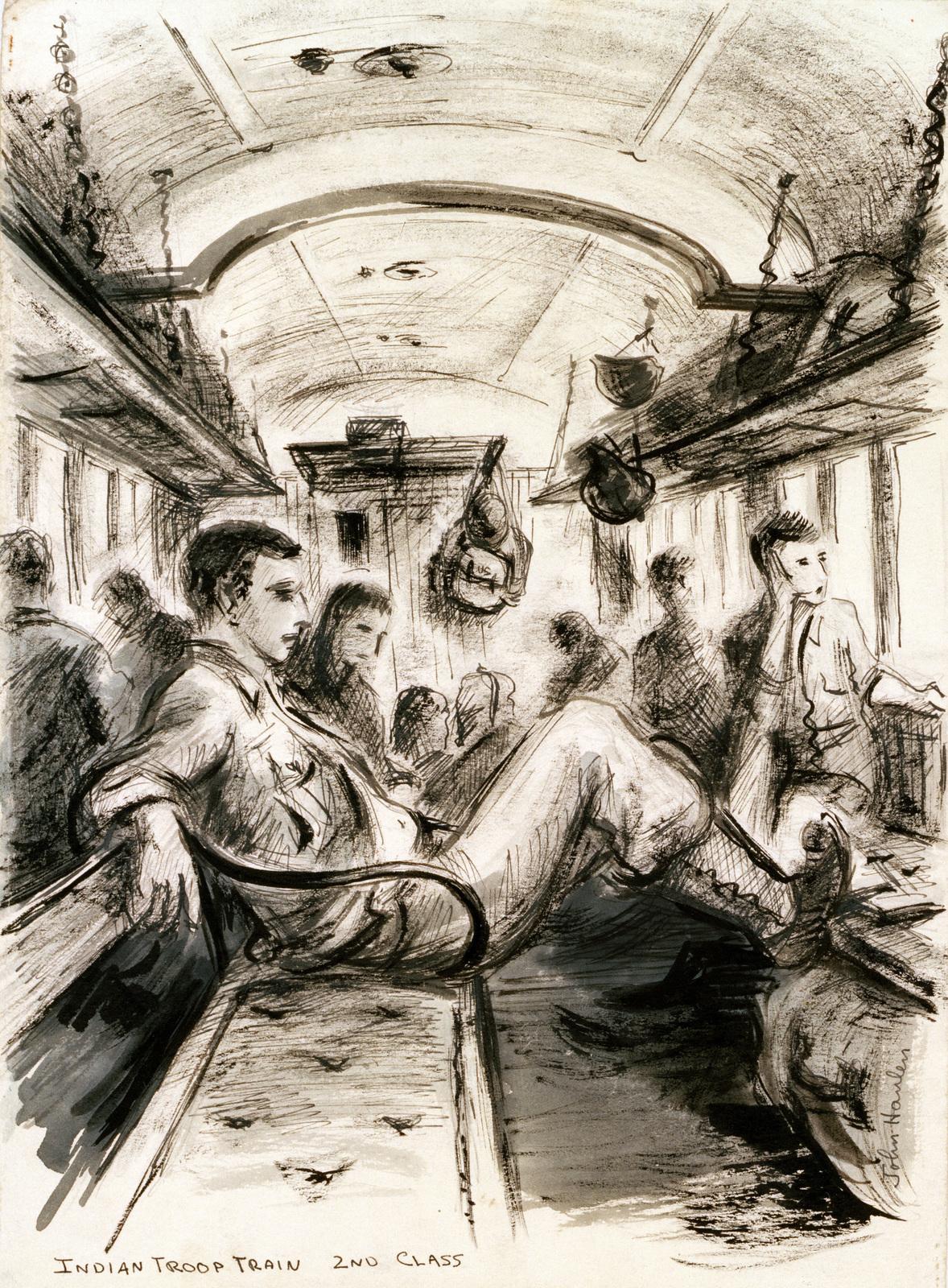 "Artwork: ""Indian Troop Train,"" India, World War II. Artist: John G. Hanlen. US Army Art Collection"