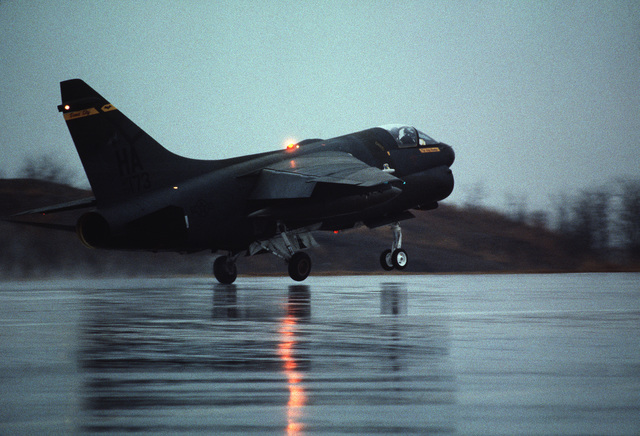A 185th Tactical Fighter Group A-7D Corsair II aircraft takes off from a runway during Exercise TEAM SPIRIT'86