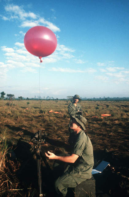 Technical Sergeant (TSGT) Anderson and AIRMAN 1ST Class (A1C) Gonzales from Detachment 75, 6th Weather Squadron, Special Operations, prepare to release a weather balloon to check the winds during Exercise CABANAS '86