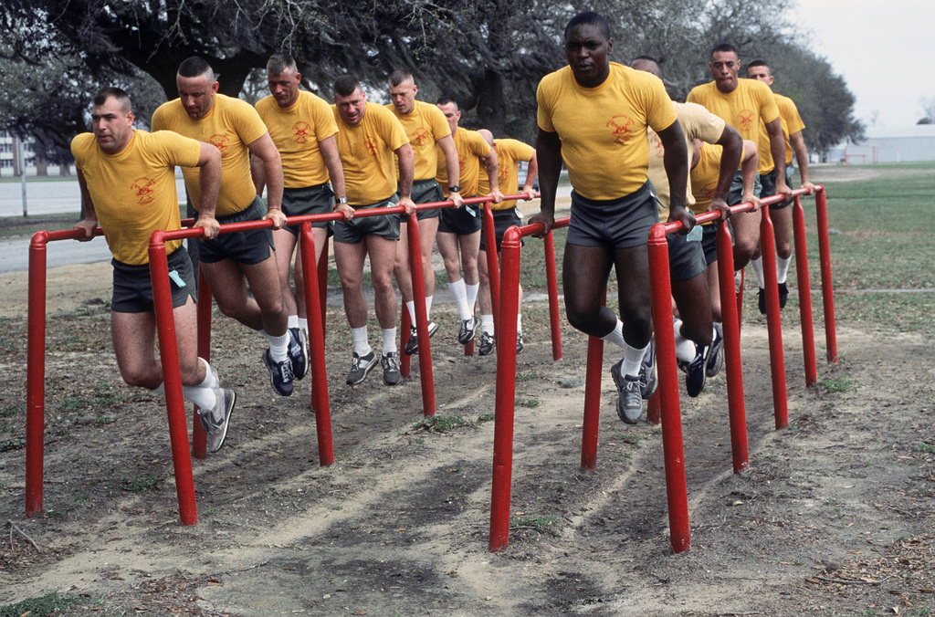 Drill instructor students work out on the circuit course during physical training at the Marine Corps recruit Depot