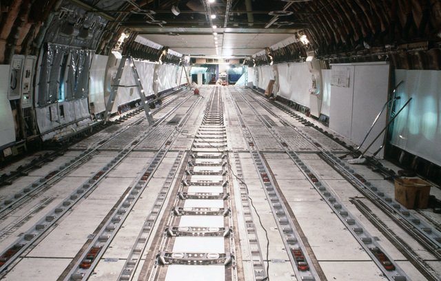An interior view of the Sea Serpent, a modified Boeing 747 aircraft. The aircraft has undergone modification as part of a Military Airlift Command plan to use 115 Boeing and McDonnell Douglas jetliners as air ambulances in the event of war. The aircraft, which would be part of the Civil Reserve Air Fleet, would airlift patients back to the United States