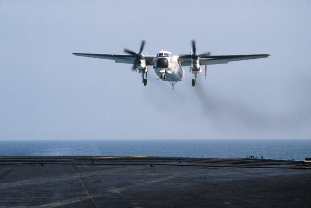 Central Mediterranean Sea.  A Fleet Logistics Support Squadron 24 (VR-24) C-2A Greyhound aircraft approaches for a landing aboard the aircraft carrier USS CORAL SEA (CV 43)
