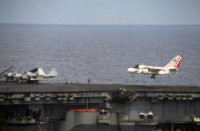 An S-3A Viking aircraft aproaches for a landing aboard the aircraft carrier USS SARATOGA (CV 60) during flight operations off the coast of Libya. First view in a series of three. (SUBSTANDARD)