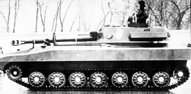 A Soviet M-1974 122mm self-propelled howitzer