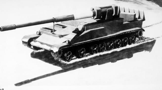 An artist's concept of a Soviet 203mm self-propelled gun