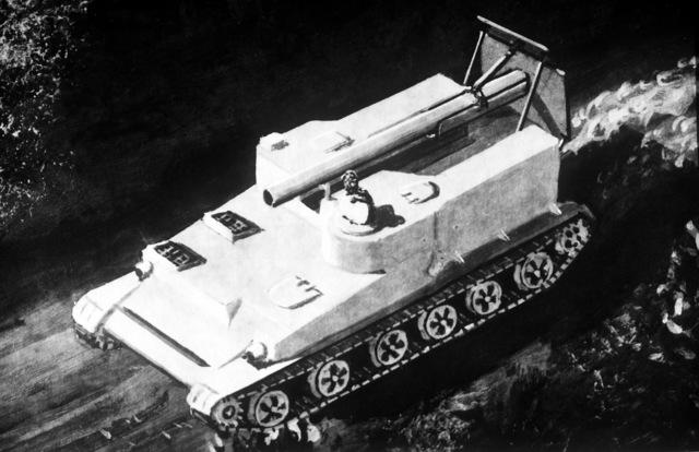 An artist's concept of a Soviet 240mm self-propelled mortar